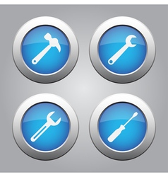 blue metallic buttons set white tools icons vector image