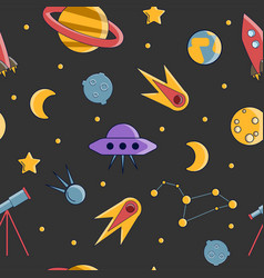 cartoon flat kids space and cosmos science vector image