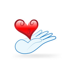 charity hand gift of love heart icon vector image