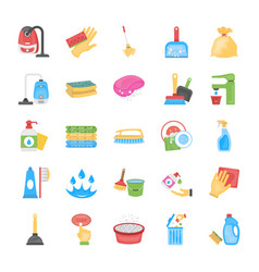 cleaning and maid icons set vector image
