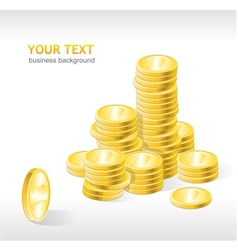 Coins stack with text vector
