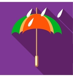 Colorful umbrella and rain drops icon vector image