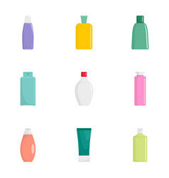 cosmetic bottle icon set flat style vector image
