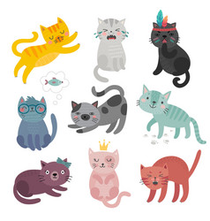 cute cats faces hand drawn characters sweet vector image