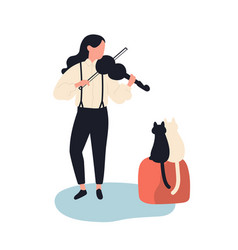 Cute girl playing violin for her cats funny vector