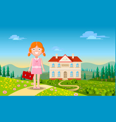 cute little redhead girl character in casual pink vector image