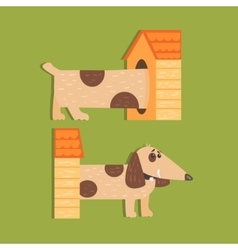 Dachshund Separated Halves Image vector