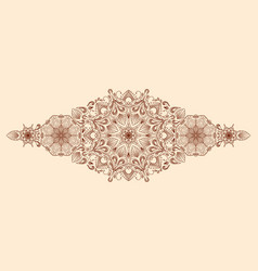 Decorative floral mandala border element on beige vector