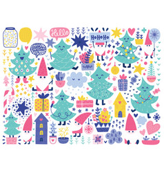 doodles christmas elements vector image