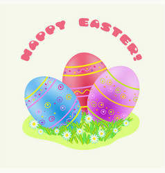 Easter blue red purple painted egg in green grass vector
