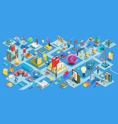 education isometric flat design vector image