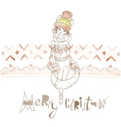 Fashion Girl in a Sweater Christmas Background vector