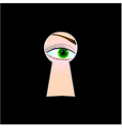female eye looking through a keyhole black vector image