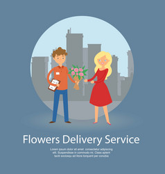 Flowers delivery service banner vector