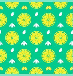 fresh lemon orange fruits seamless pattern vector image