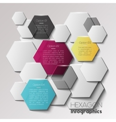 Geometric hexagon infographic concept vector