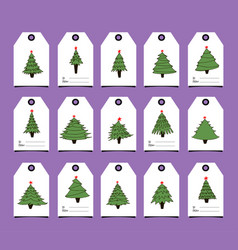 gift tags with new year trees vector image