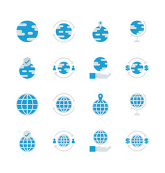 global related in flat icon set vector image