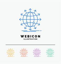 Globe network arrow news worldwide 5 color line vector