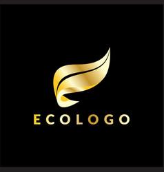 gold leaf business logo vector image