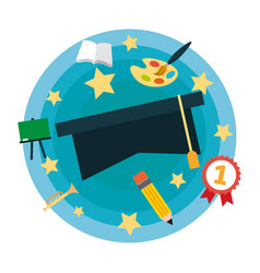 Graduation stage celebration vector