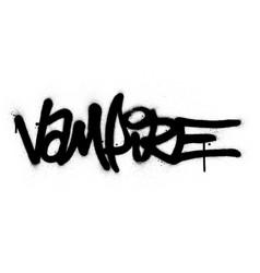 Graffiti vampire word sprayed in black over white vector