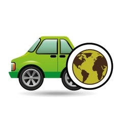 green ecology car concept world vector image