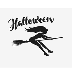 Halloween Silhouette beautiful young witch flying vector image