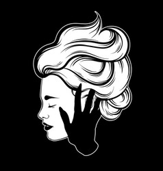 hand drawn beautiful woman profile with hand vector image