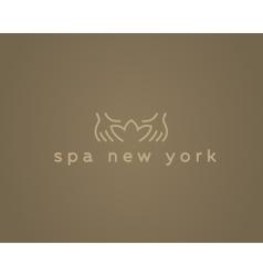 Hands lotus spa resort logotypeCreative vector