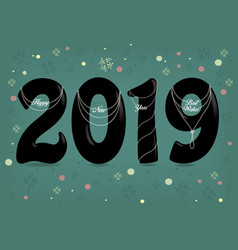 happy new year 2019 pearl collars vector image