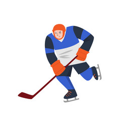 Heavyset hockey player in a blue uniform and a vector