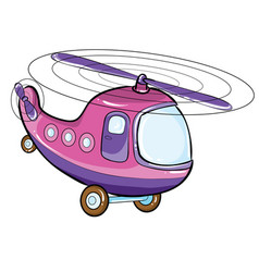 helicopter in lilac color cartoon isolated vector image