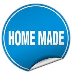 Home made round blue sticker isolated on white vector