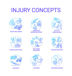 Injury factors trauma causes concept icons set vector