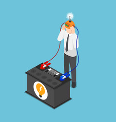 Isometric businessman recharge his idea from vector