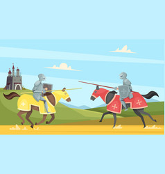 Knights tournament medieval chivalry prince in vector