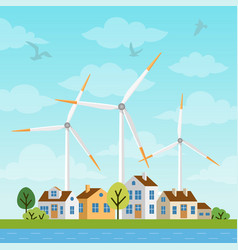 landscape with small houses and windmills vector image