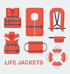Life jacket flat set vector