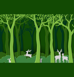 Love nature with animal wildlife in green woods vector