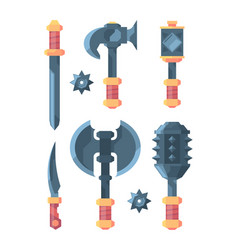 medieval weapons slice knives axes swords and vector image