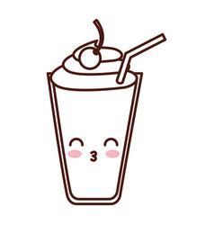 milkshake glass kawaii character vector image