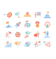 Mission purpose objective aim colorful outline vector