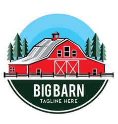 Modern red barn logo design vector