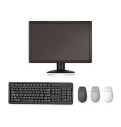 monitor and keyboard and mouses vector image