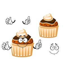 Muffin with chocolate glaze and cream vector