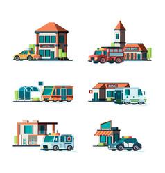 municipal buildings city cars near facade vector image