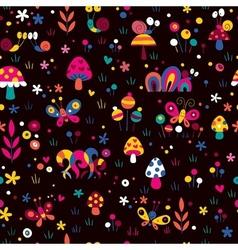 Mushrooms snails cute pattern vector
