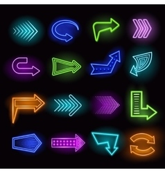 Neon arrows set vector