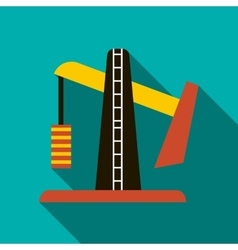 Oil pump jack icon flat style vector image